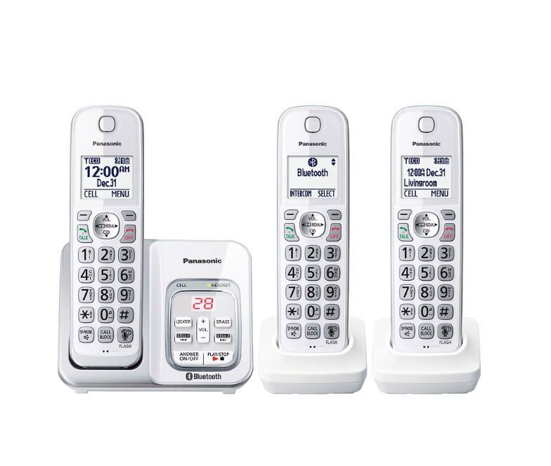 Panasonic KX-TGD593W | 3 Digital cordeless handsets - Link2Cell - Recorder - Bluetooth - White
