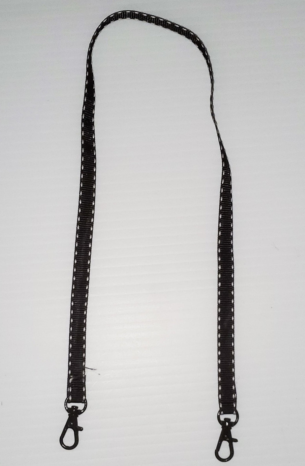 Black Ribbon with White Stitch Mask Hanger with Clips on The End To hold Your Mask