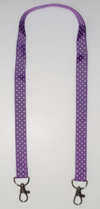 Purple with White Polka Dot Mask Hanger with Clips on The End To hold Your Mask