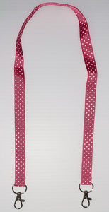Dark Pink with White Polka Dot Mask Hanger with Clips on The End To hold Your Mask