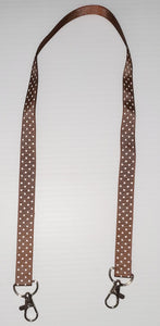Brown with White Polka Dot Mask Hanger with Clips on The End To hold Your Mask