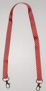 Red with White Polka Dot Mask Hanger with Clips on The End To hold Your Mask