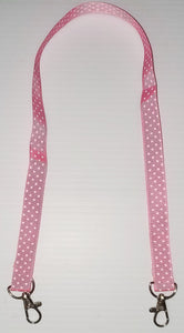 Light Pink with White Polka Dot Mask Hanger with Clips on The End To hold Your Mask