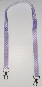 Light Purple with White Polka Dot Mask Hanger with Clips on The End To hold Your Mask