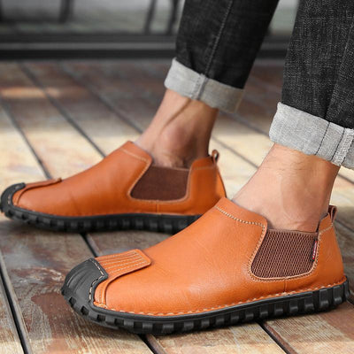 Men Casual Shoes Genuine Leather Slip-on Loafers Ankle Boots