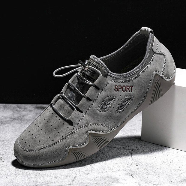 Men Genuine Leather Flats Lace Up Casual Driving Shoes