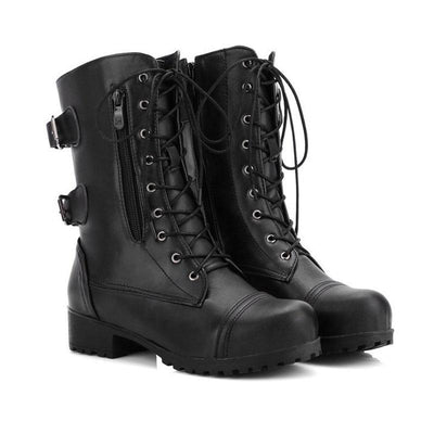 Women British Buckle Strap Lace Zipper Boots
