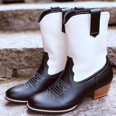Pointed Thick Heel Embroidered Ladies Boots
