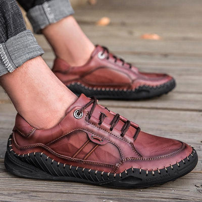 Men Genuine Leather Breathable Non-slip Fashion Casual Shoes