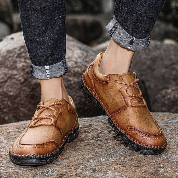 Men Handmade Leather Soft Lace Up Casual Shoes