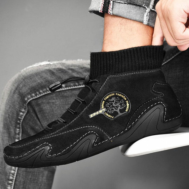 Men Fashion Genuine Leather Lace Up Socks Casual Shoes