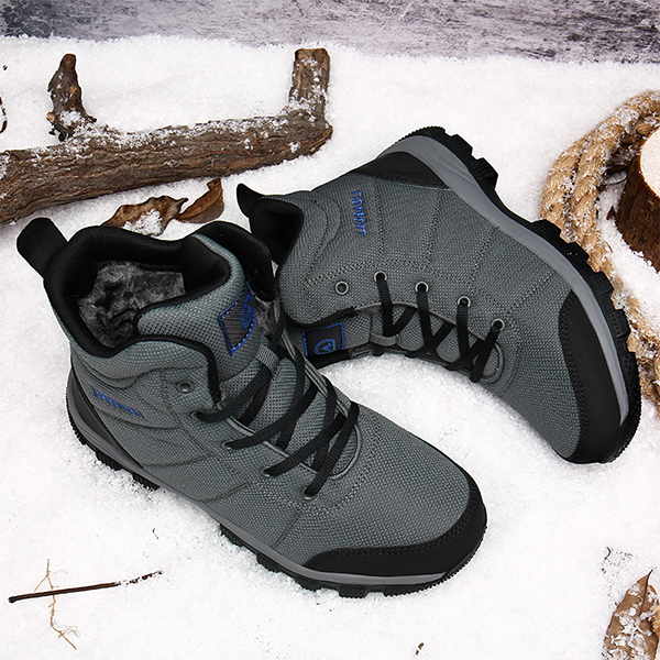 Men's Waterproof Fur Lining Winter Snow Boots