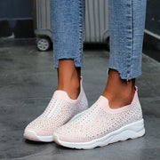 Women Knitted Mesh Rhinestone Slip-on Casual Shoes
