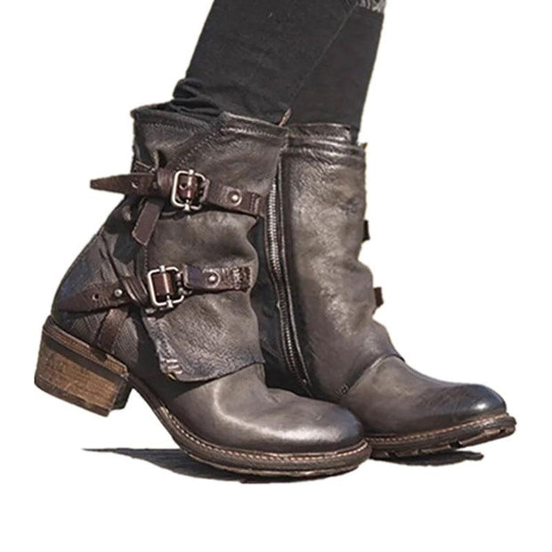 Women's Belt Buckle Thick Heel Boots