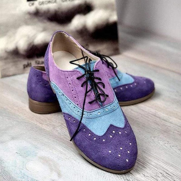 Women Comfortable Color Block Lace Up Casual Shoes