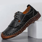 Men Shoes British Style Solid Color Hand-stitched Leather Casual Footwear