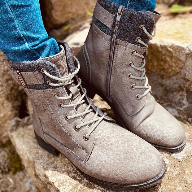 Women Metal Buckle Lace Up Zipper Flat Short Boots
