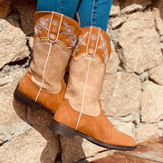 Women Floral Color Block Western Cowboy Mid-calf Boots