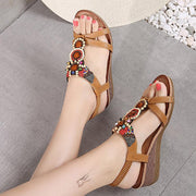 Women Flower Heels Retro Round Toe Sandals