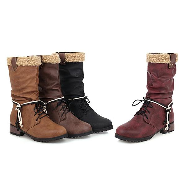 Women'S Warm Mid-Tube Rider Boots