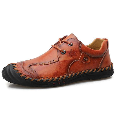 Men's Casual Leather Loafers Low Help Lace up Handmade Leisure Shoes
