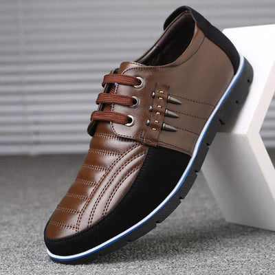 Men's Casual Soft Genuine Leather Splicing Non-Slip Dress Shoes