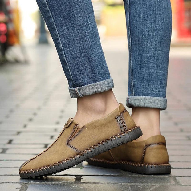 Men's Leather Loafers Slip-On Flats Male Casual Oxford Shoes