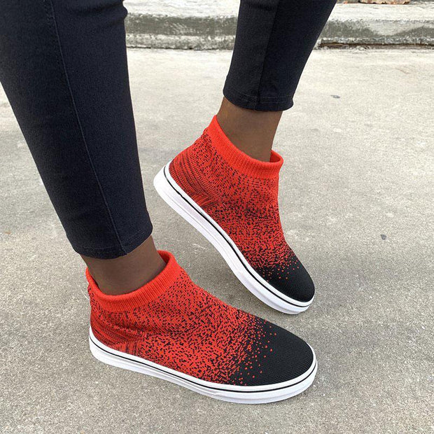 Women Knitted Breathable Flats Casual Socks Shoes