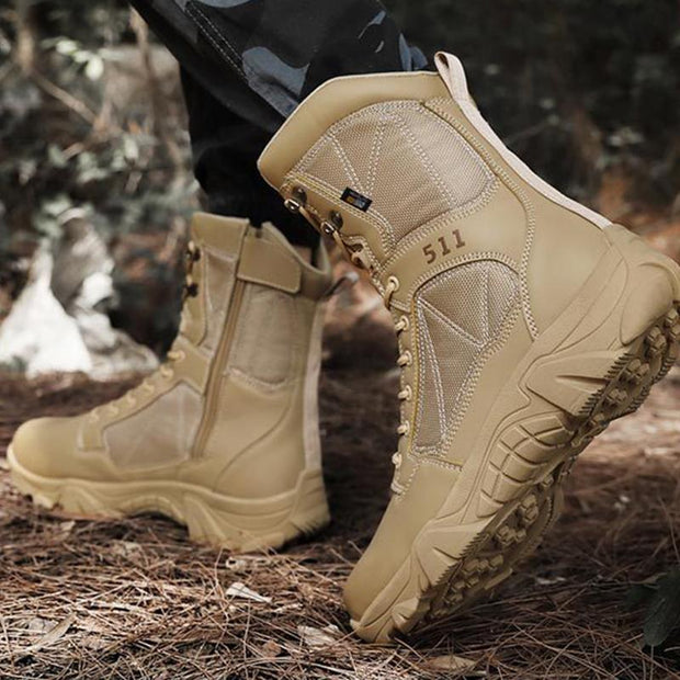 Men's Military Boots Full Grain Leather Desert Combat Outdoor Work Shoes