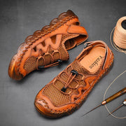 Men Sandals Casual Handmade Genuine Leather Breathable Beach Shoes