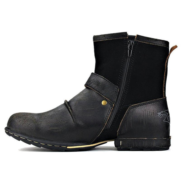 Men's Genuine Leather Zipper-up Ankle Boots
