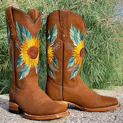 Women's Custom Made Sunflower Boots