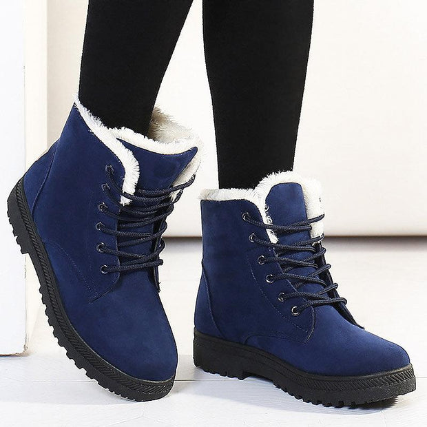 Women Keep Warm Suede Winter Flat Ankle Snow Boots