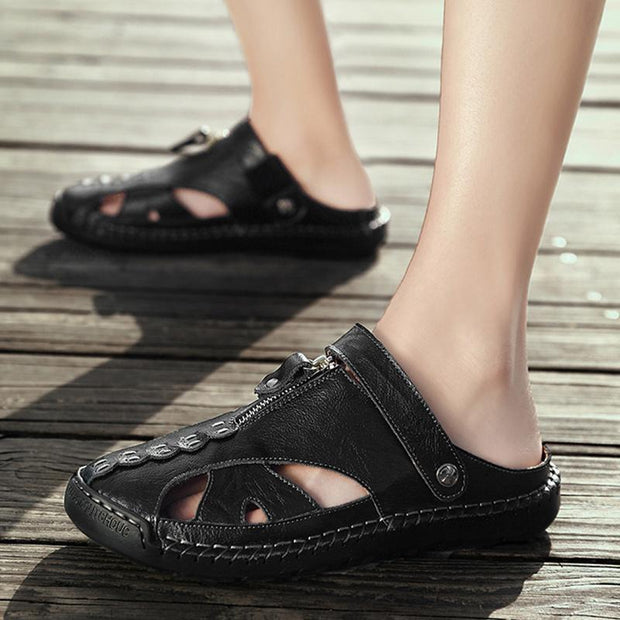 Men Genuine Leather Beach Shoes Sandals Cogs