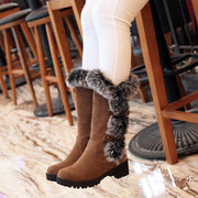 Women Fuzzy Buckle Fur Lining Heels High Top Boots