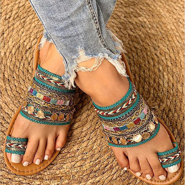 Ethnic Boho Style Toe Ring Sandals