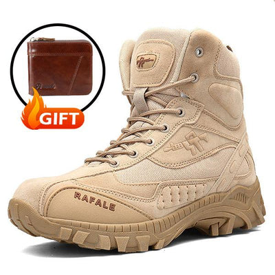 Men Outdoor Slip Resistant Hiking Ankle Desert Boots (FREE GIFT-Wallet)