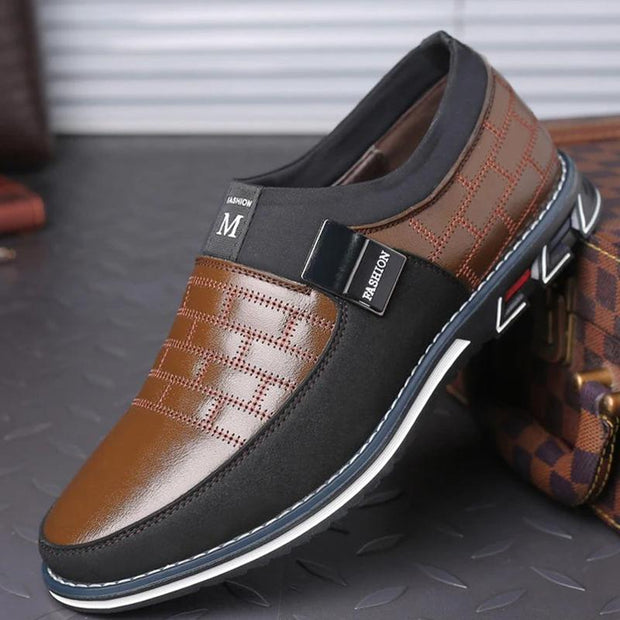 Men Casual Genuine Leather Stitching Slip On Metal Decoration Non Slip Shoes