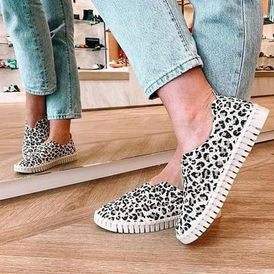 Women's Breathable Mesh Leopard Loafers