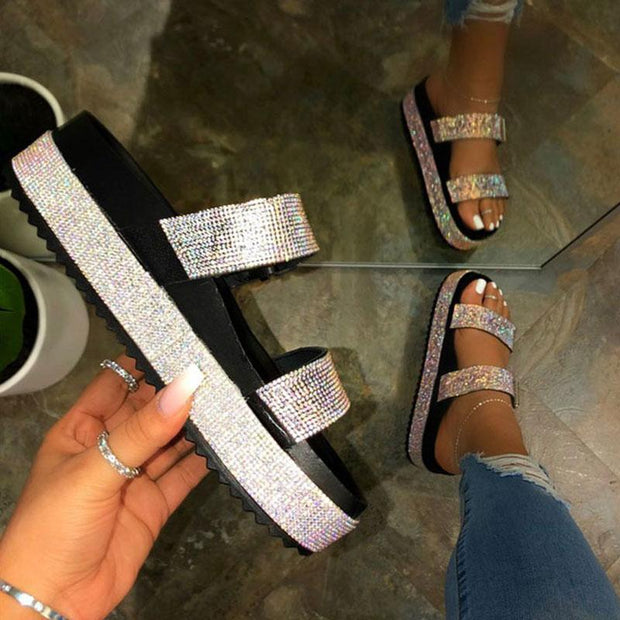 Women's Fashion Rhinestone Platform Slippers