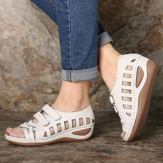Women Casual Peep Toe Hollow Out Breathable Wedges Sandals