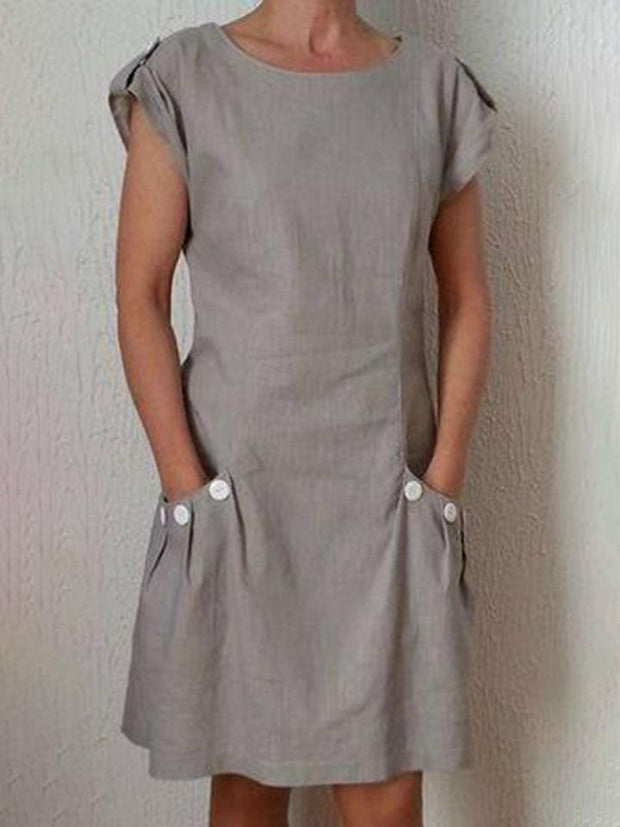 Women Casual Round Neck Short Sleeve Zipper Dresses