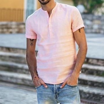 Men's Casual Plain Button Loose T-Shirt