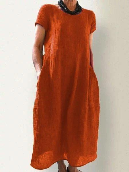 Women Short Sleeve Round Neck Shift Plus Size Maxi Dresses