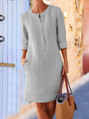 Women's Plus Size Buttoned Down Pockets Dresses