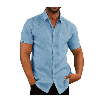 Men's Solid Color Linen Short-Sleeved Buttons Shirt