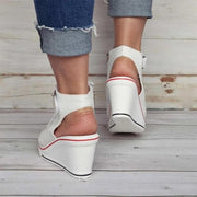 Women's Fish Mouth Wedge Slingback Canvas Shoes