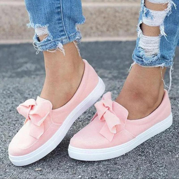 Women's Fashion Top Knot Wide Casual Slip-on Sneakers