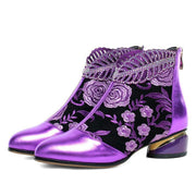 Women's Embroidered Flowers Rhinestone Boots