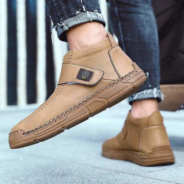 Men Boots Solid Color High-top Round Toe Flat Heel Casual Shoes